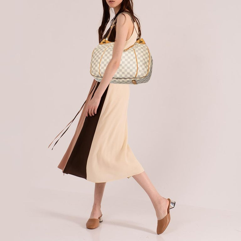 Beige Louis Vuitton Damier Azur Canvas Galliera PM bag For Sale