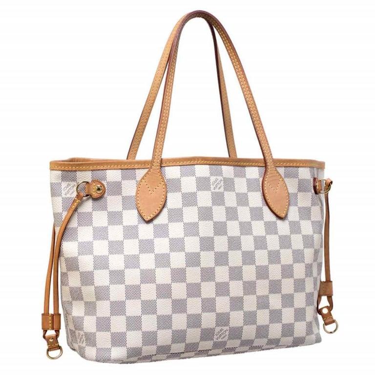 Women's Louis Vuitton Damier Azur Canvas Neverfull PM Bag