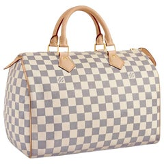 LOUIS VUITTON  Damier Azur Canvas Speedy 30 Hand Bag