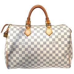 Louis Vuitton Damier Azur Canvas Speedy Bandouliere 35 Bag