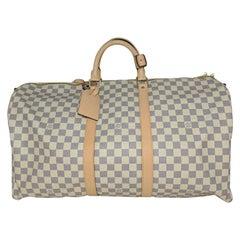 Louis Vuitton Damier Azur Keepall Bandouliere 55 Luggage