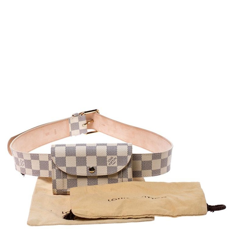 Louis Vuitton Damier Azur Pochette Solo Belt Bag For Sale 7