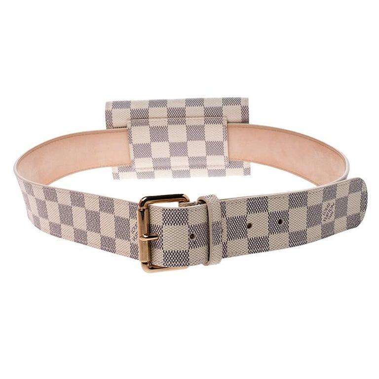 Louis Vuitton Damier Azur Pochette Solo Belt Bag For Sale 5