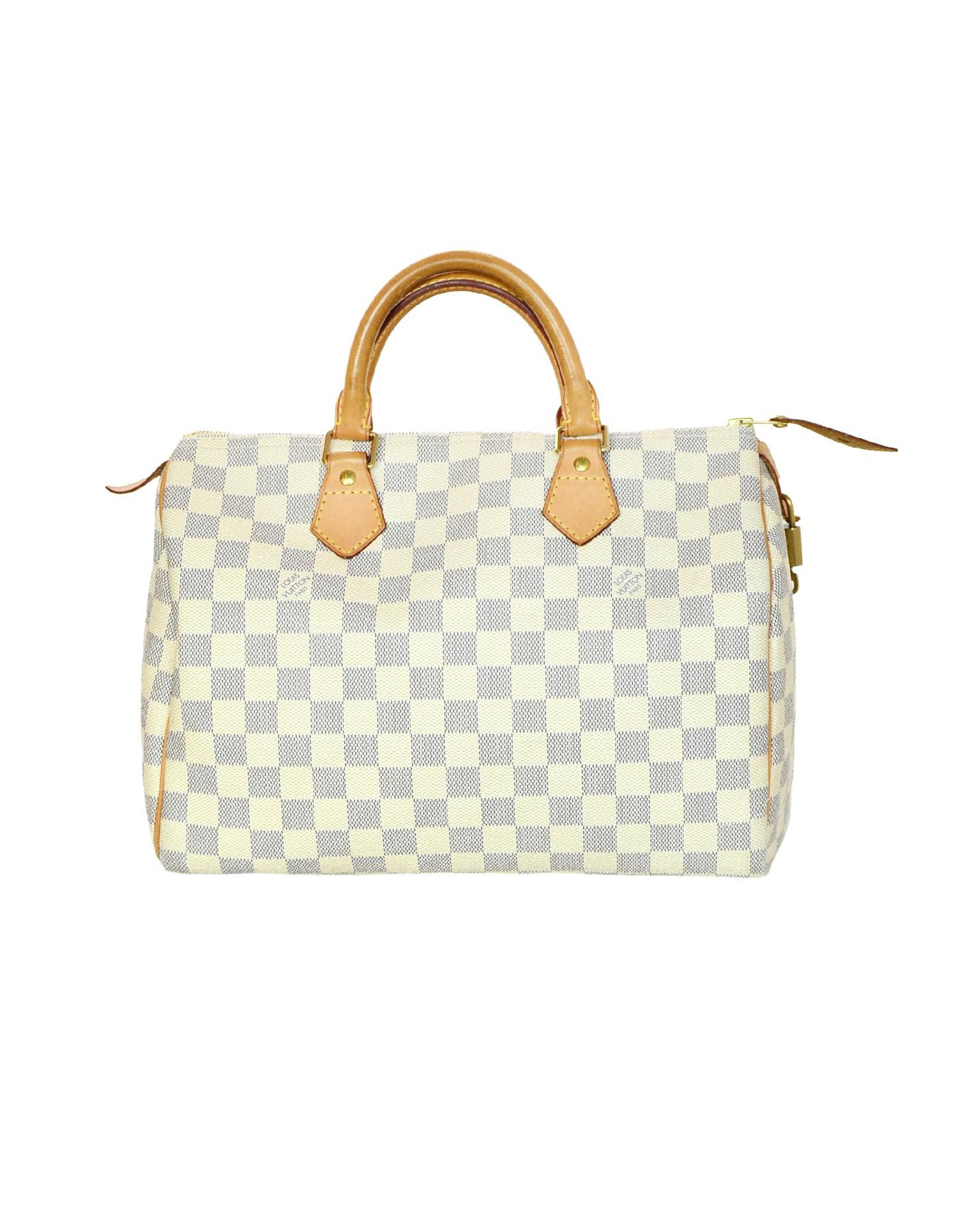Louis Vuitton Damier Azur Speedy 30 Bag w  Lock, Key and Dust Bag For Sale  at 1stdibs aa1f1de35e