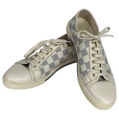 Louis Vuitton Damier Azur Womens Cream Leather Sneakers Gold Hardware 8 1/2