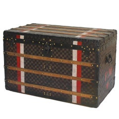 Louis Vuitton Damier Courier Trunk with FM Initials and Red and White Stripes