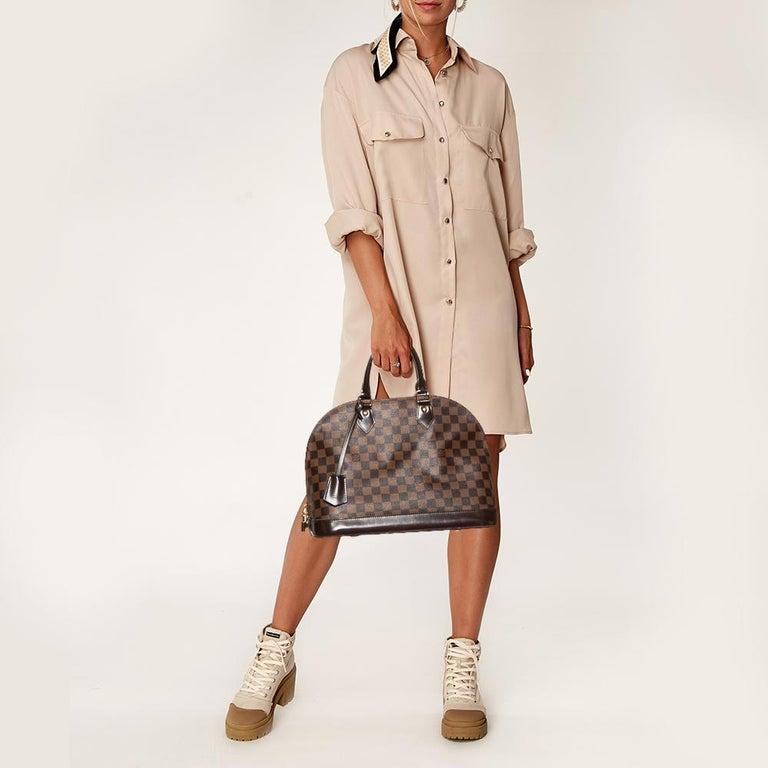 Black Louis Vuitton Damier Ebene Canvas Alma MM Bag For Sale