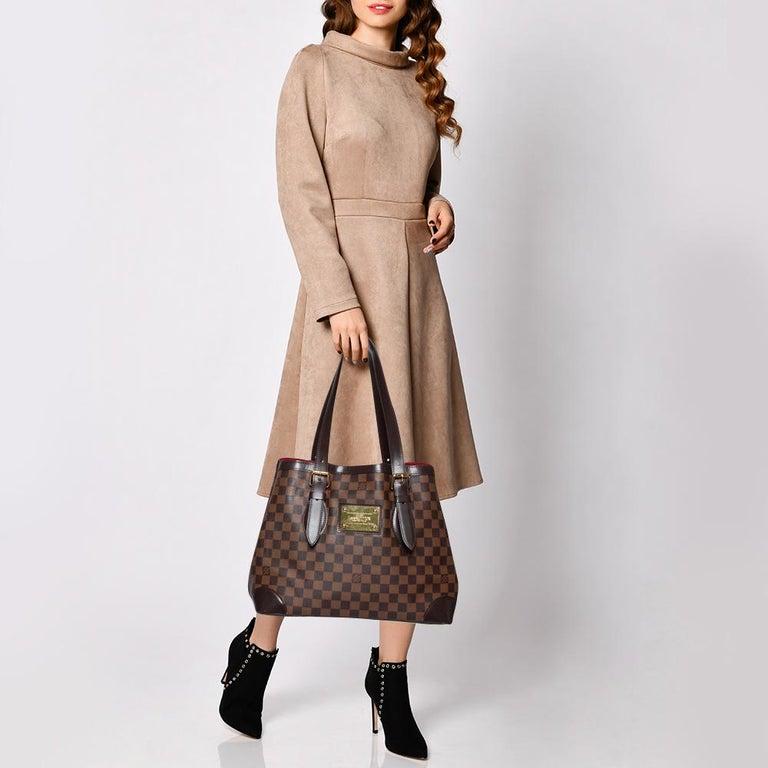 Black Louis Vuitton Damier Ebene Canvas and Leather Hampstead MM Bag For Sale