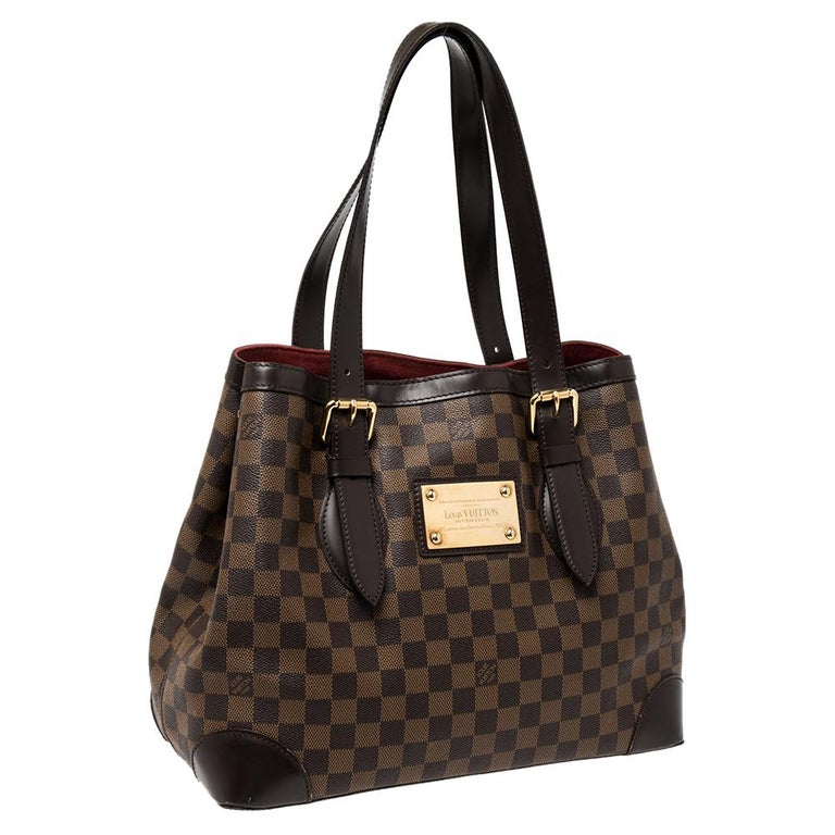 Louis Vuitton Damier Ebene Canvas and Leather Hampstead MM Bag In Good Condition For Sale In Dubai, Al Qouz 2