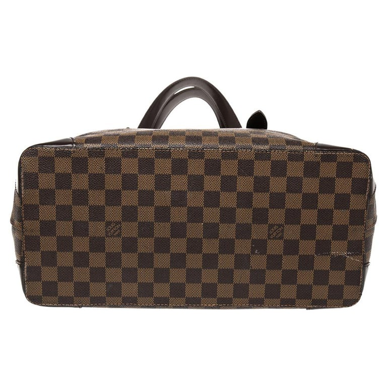 Women's Louis Vuitton Damier Ebene Canvas and Leather Hampstead MM Bag For Sale