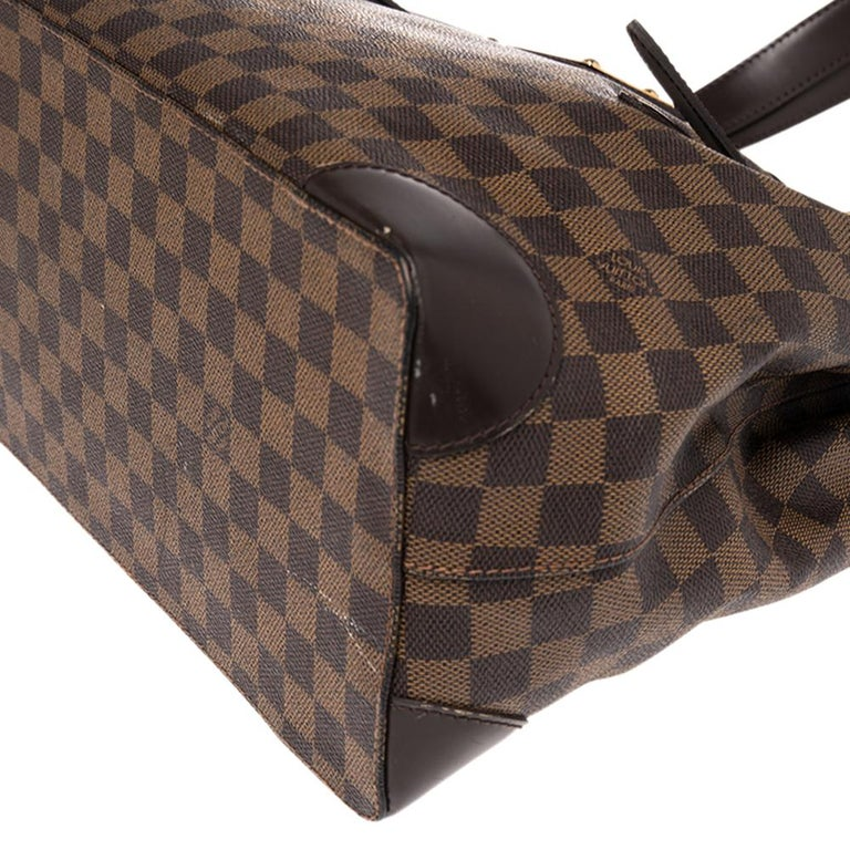 Louis Vuitton Damier Ebene Canvas and Leather Hampstead MM Bag For Sale 2