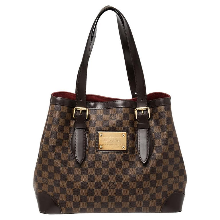 Louis Vuitton Damier Ebene Canvas and Leather Hampstead MM Bag For Sale