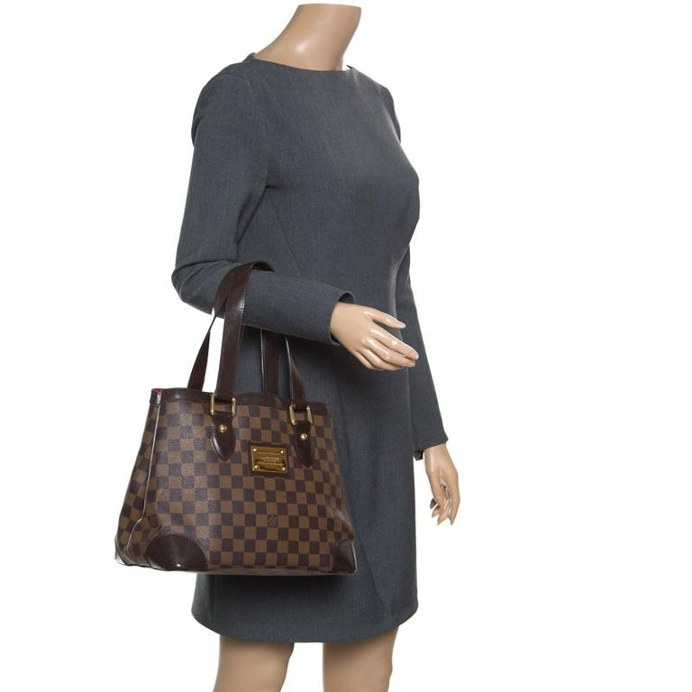 e7af87e59ae6 Brown Louis Vuitton Damier Ebene Canvas and Leather Hampstead PM Bag For  Sale