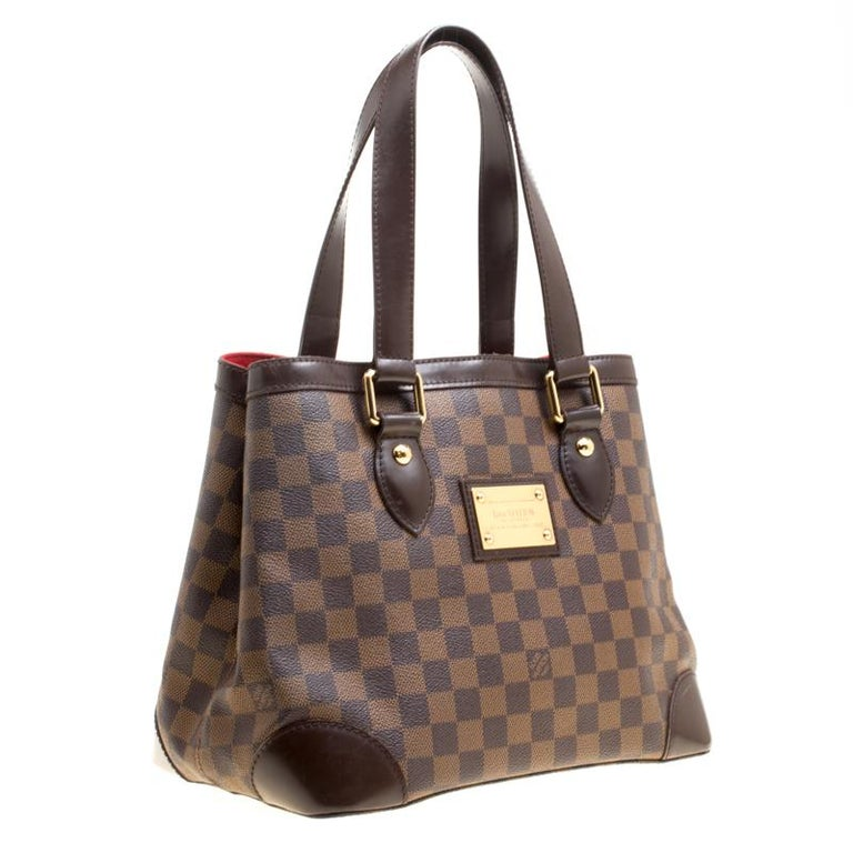 1999c2a16fae Louis Vuitton Damier Ebene Canvas and Leather Hampstead PM Bag For Sale 1