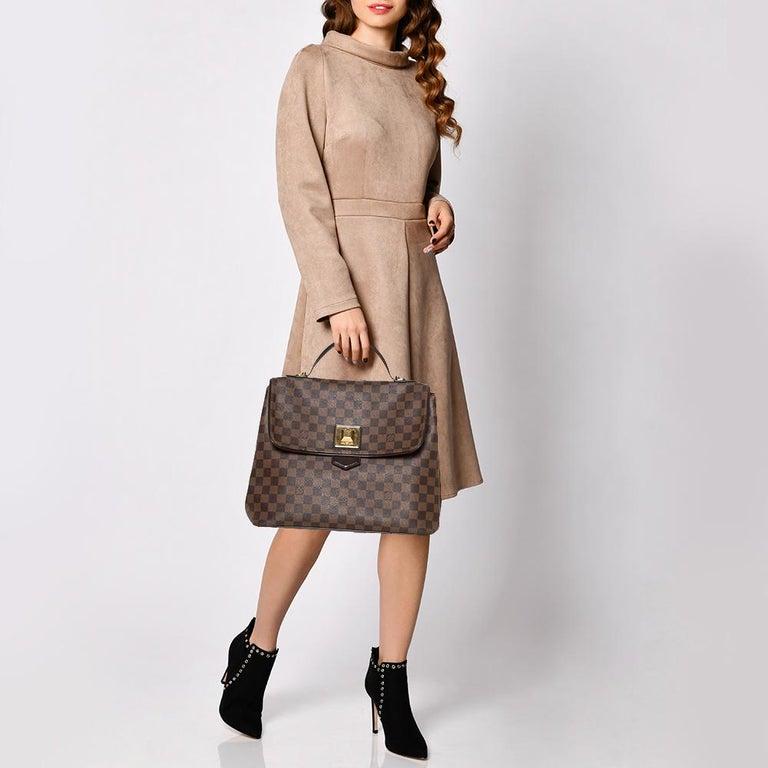 Brown Louis Vuitton Damier Ebene Canvas Bergamo GM Bag For Sale