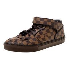 Louis Vuitton Damier Ebene Canvas Lace Up High Top Sneakers Size 45
