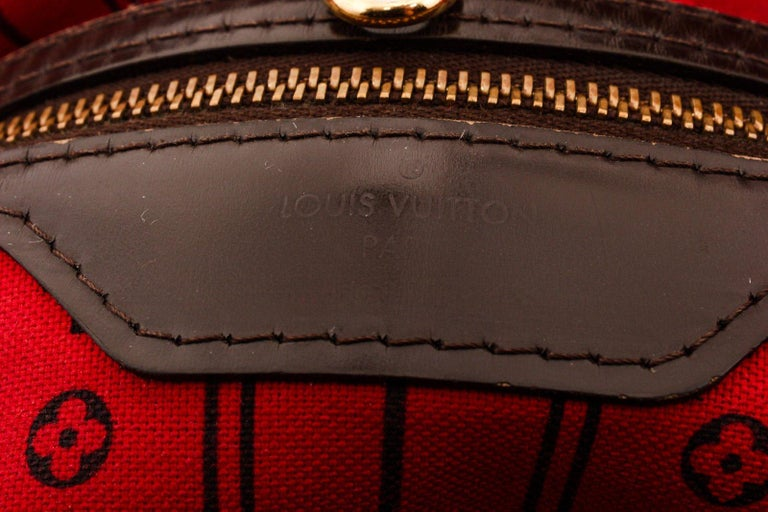 Louis Vuitton Damier Ebene Canvas Leather Neverfull GM Bag In Good Condition For Sale In Irvine, CA