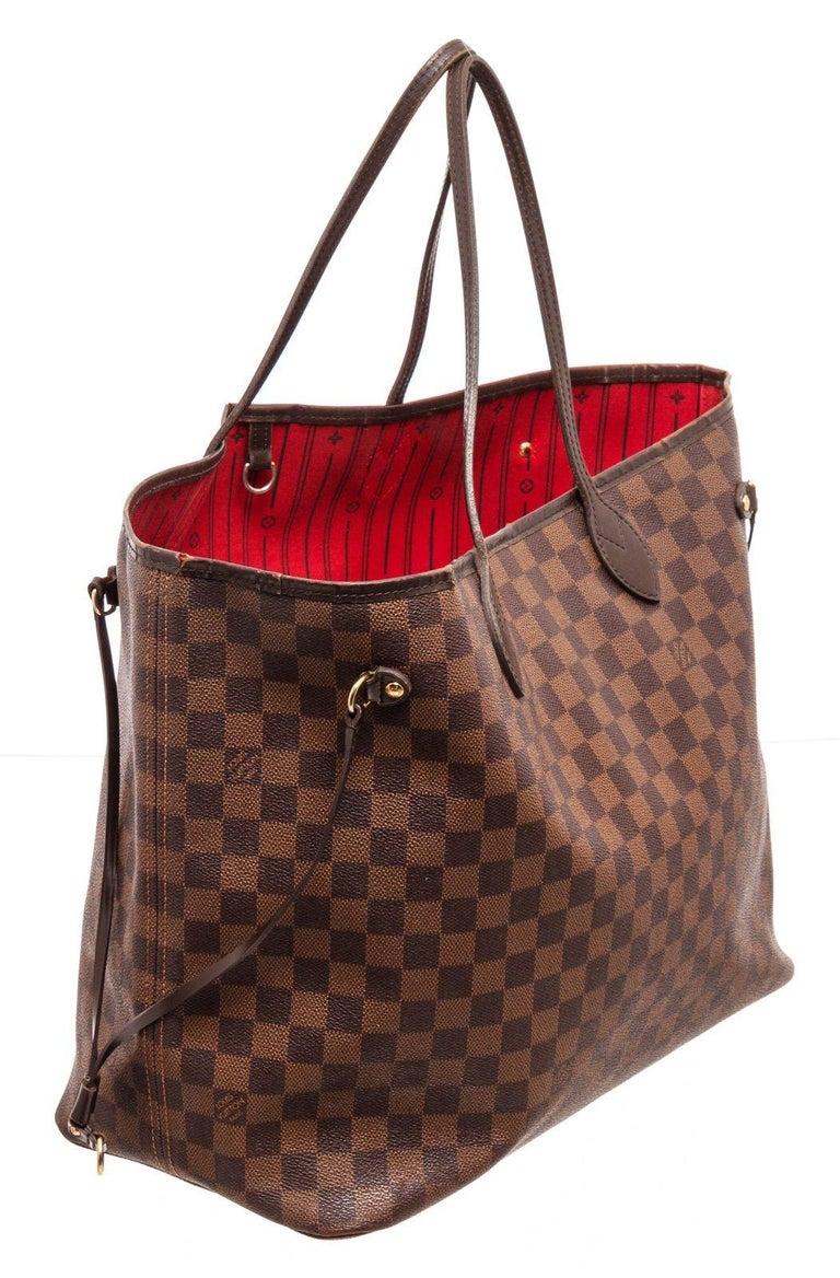 Women's Louis Vuitton Damier Ebene Canvas Leather Neverfull GM Bag For Sale