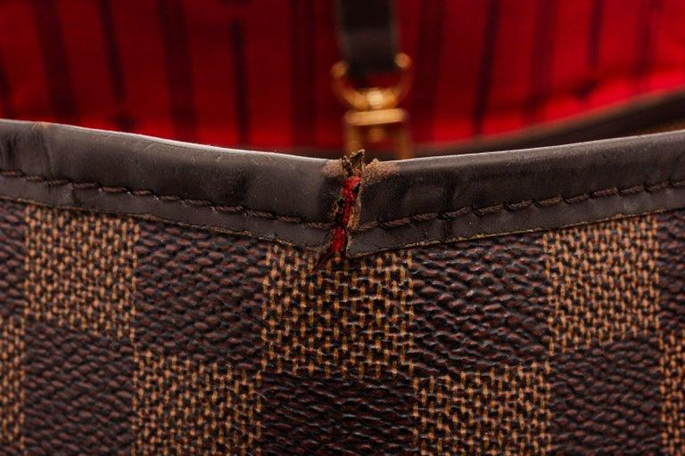Louis Vuitton Damier Ebene Canvas Leather Neverfull GM Bag For Sale 1