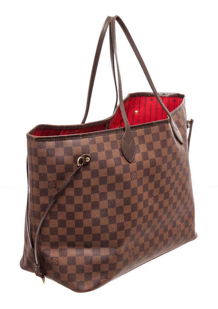 Louis Vuitton Damier Ebene Canvas Leather Neverfull GM Bag For Sale 2