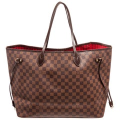 Louis Vuitton Damier Ebene Canvas Leather Neverfull GM Bag