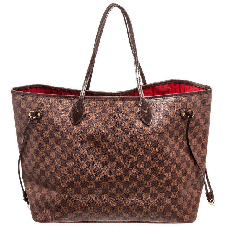 Louis Vuitton Damier Ebene Canvas Leather Neverfull GM Bag For Sale