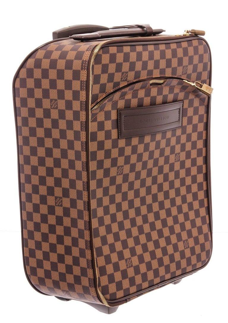 Louis Vuitton Damier Ebene Canvas Leather Pegase 45 cm Luggage For Sale 4