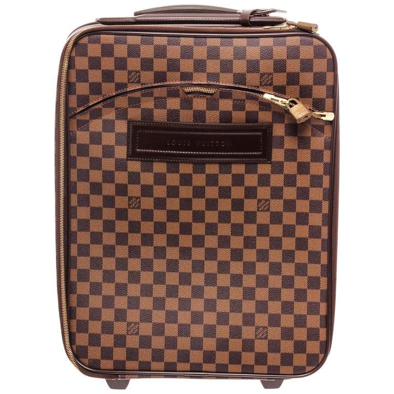 Louis Vuitton Damier Ebene Canvas Leather Pegase 45 cm Luggage For Sale
