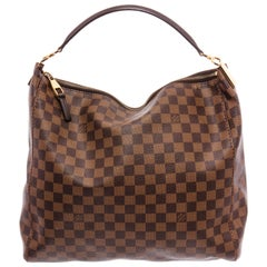 Louis Vuitton Damier Ebene Canvas Leather Portobello PM Hobo Bag