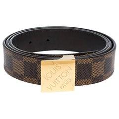 Louis Vuitton Damier Ebene Canvas Logo Buckle Belt 100CM