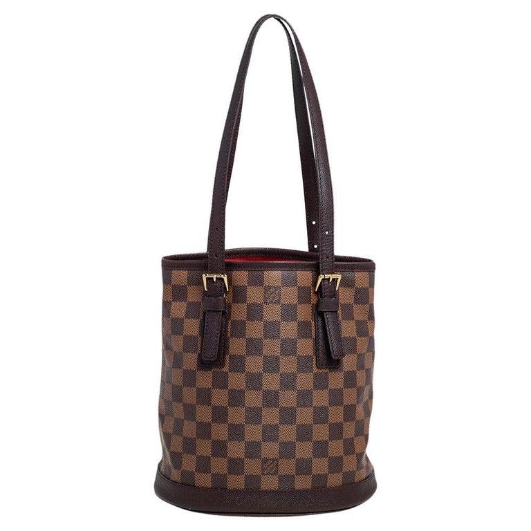 Louis Vuitton Damier Ebene Canvas Marais Bucket Bag For Sale