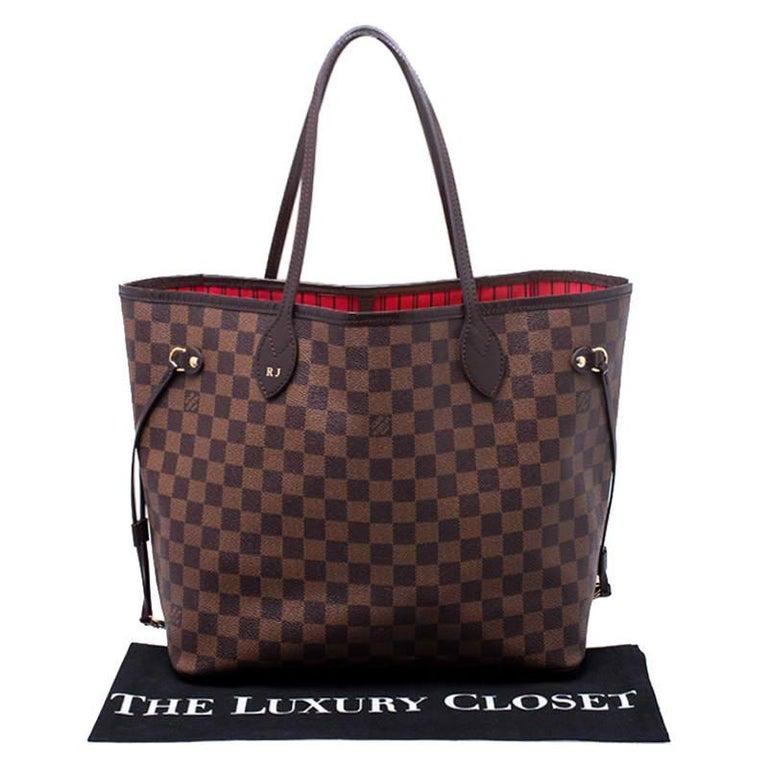 Louis Vuitton Damier Ebene Canvas Neverfull MM Bag For Sale 8