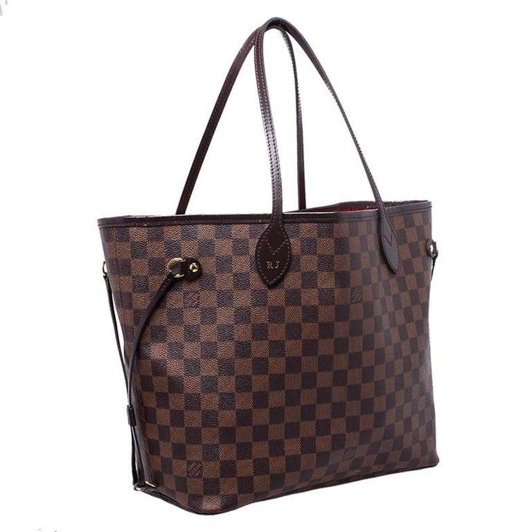 Louis Vuitton Damier Ebene Canvas Neverfull MM Bag For Sale 2