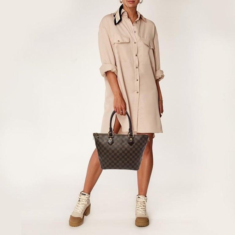 Black Louis Vuitton Damier Ebene Canvas Saleya PM Bag For Sale