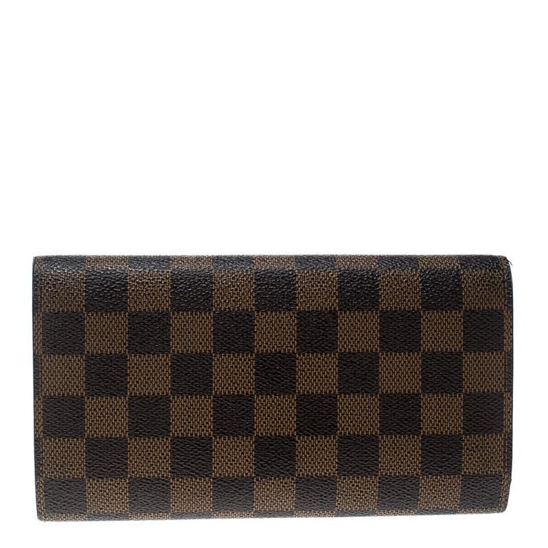 482a553d8fdcc Black Louis Vuitton Damier Ebene Canvas Sarah Wallet For Sale