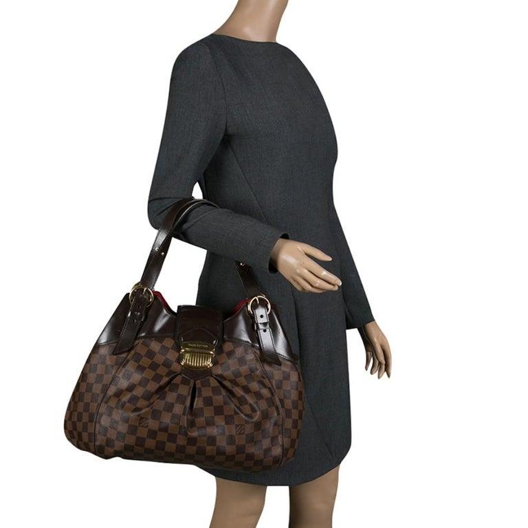 Louis Vuitton Damier Ebene Canvas Sistina GM Bag In Good Condition For Sale In Dubai, Al Qouz 2