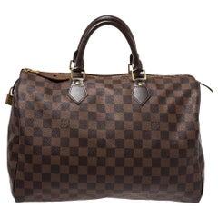 Louis Vuitton Damier Ebene Canvas Speedy 35 Bag