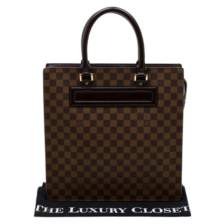 Louis Vuitton Damier Ebene Canvas Venice Sac Plat GM Bag For Sale 6