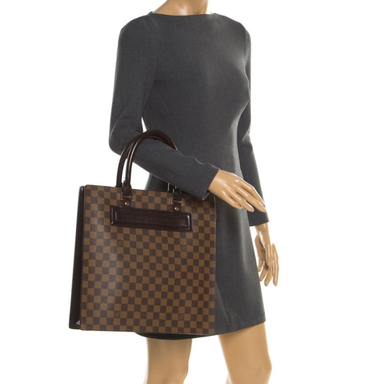Black Louis Vuitton Damier Ebene Canvas Venice Sac Plat GM Bag For Sale