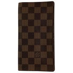 Louis Vuitton Damier Ebene Canvas Vertical Bifold Wallet