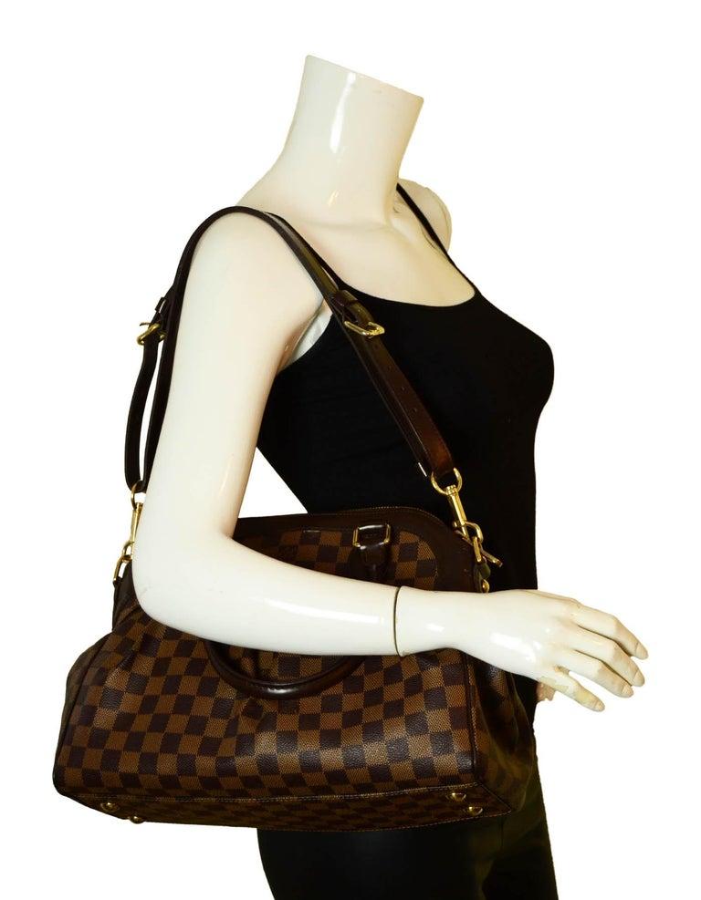Brown Louis Vuitton Damier Ebene Coated Canvas Trevi PM Bag w/ Detachable Strap For Sale