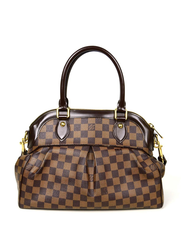 Louis Vuitton Damier Ebene Coated Canvas Trevi PM Bag w/ Detachable Strap In Excellent Condition For Sale In New York, NY