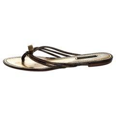 Louis Vuitton Damier Ebene Feel Free Thong Slide Flats Size 37
