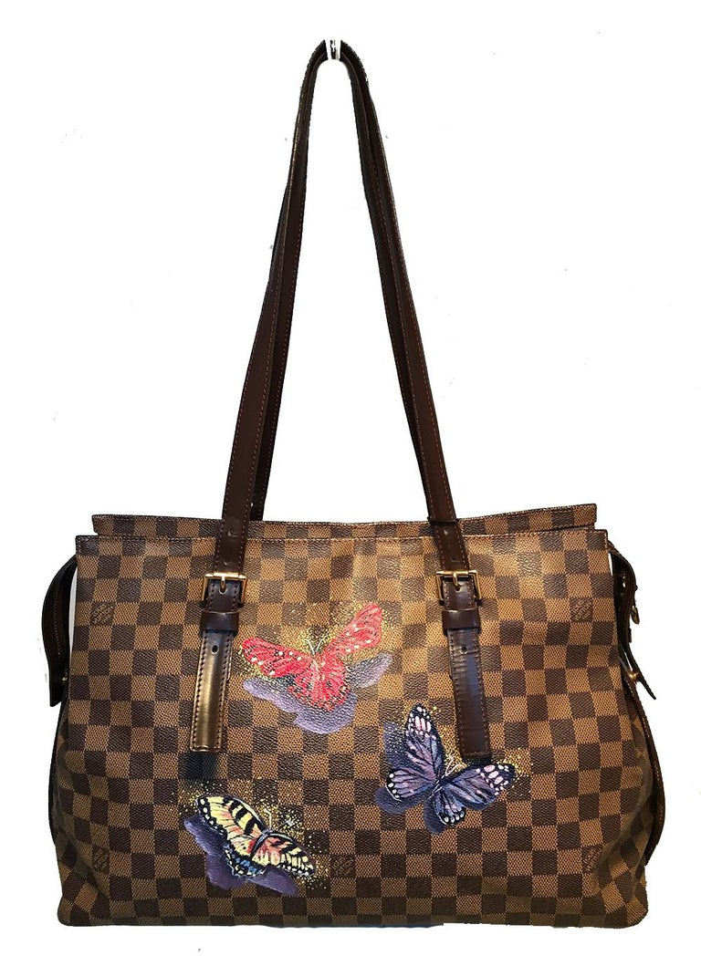 Louis Vuitton Damier Ebene Customized Hand Painted Butterfly Chelsea Shoulder Bag Tote in excellent condition. Signature brown square checker print damier ebene canvas trimmed with dark brown leather and gold hardware. Customized, Hand painted