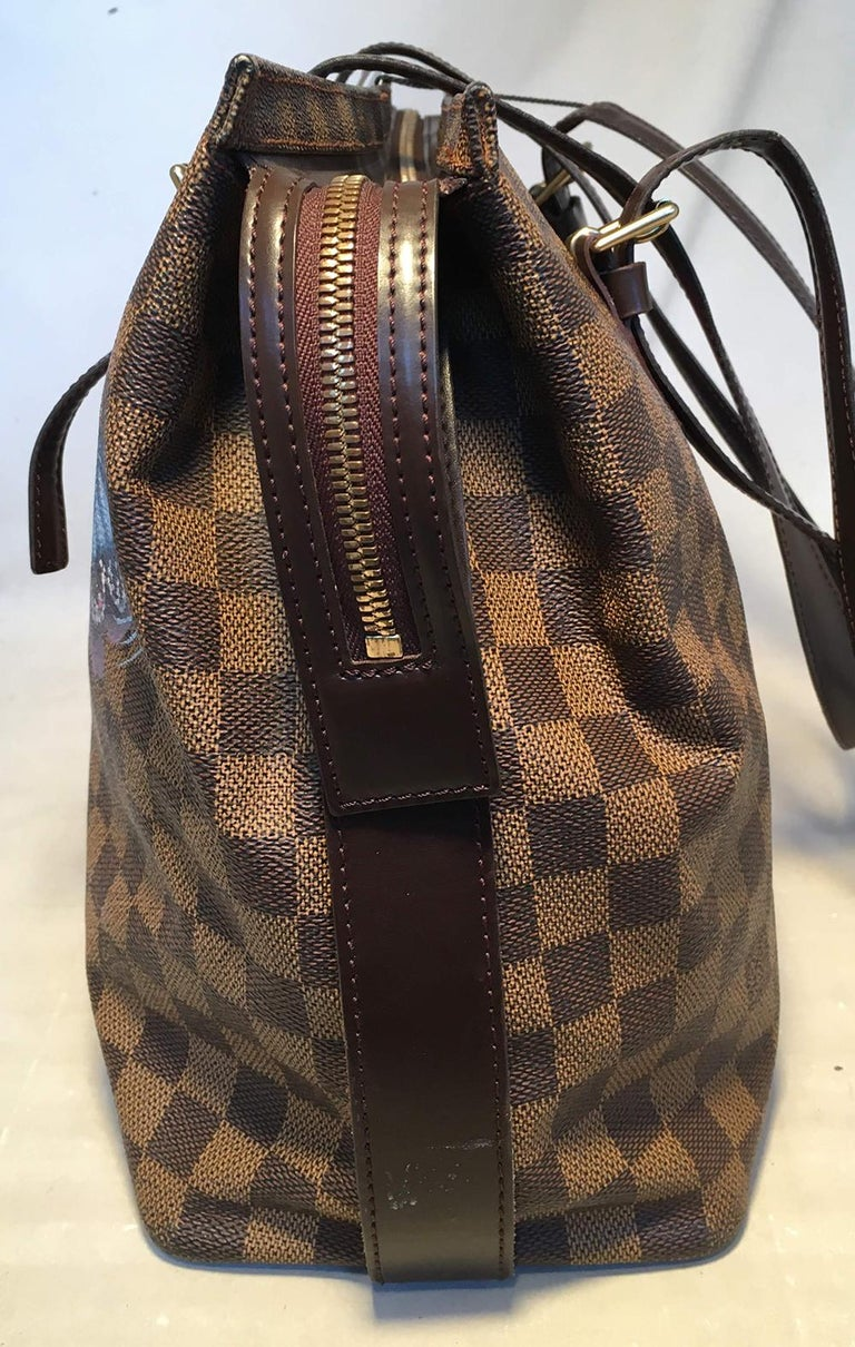 Black Louis Vuitton Damier Ebene Customized Hand Painted Butterfly Chelsea Bag Tote For Sale