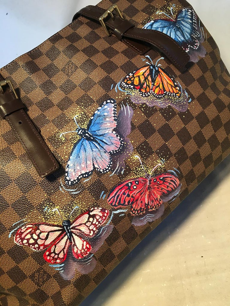 Louis Vuitton Damier Ebene Customized Hand Painted Butterfly Chelsea Bag Tote In Excellent Condition For Sale In Philadelphia, PA