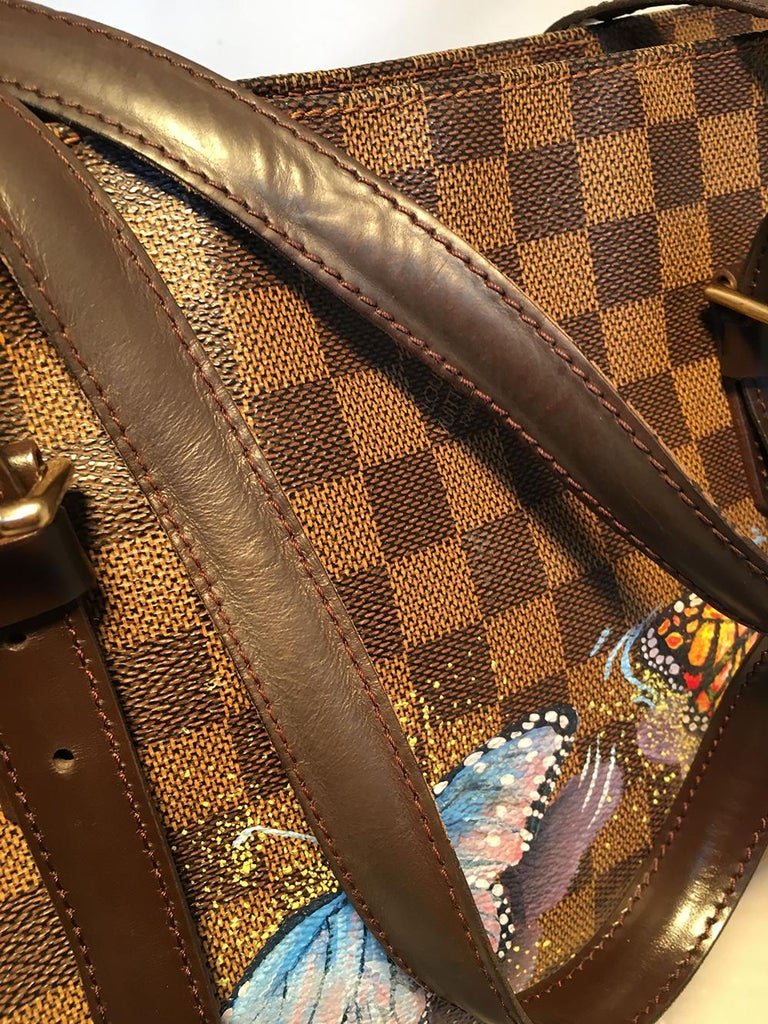 Louis Vuitton Damier Ebene Customized Hand Painted Butterfly Chelsea Bag Tote For Sale 3
