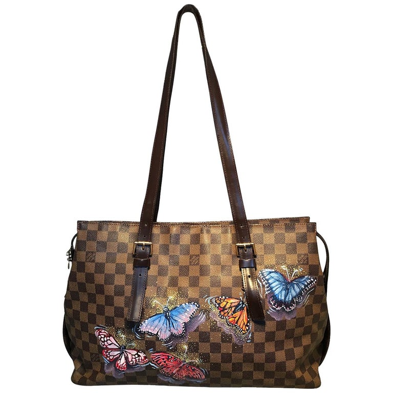 Louis Vuitton Damier Ebene Customized Hand Painted Butterfly Chelsea Bag Tote For Sale