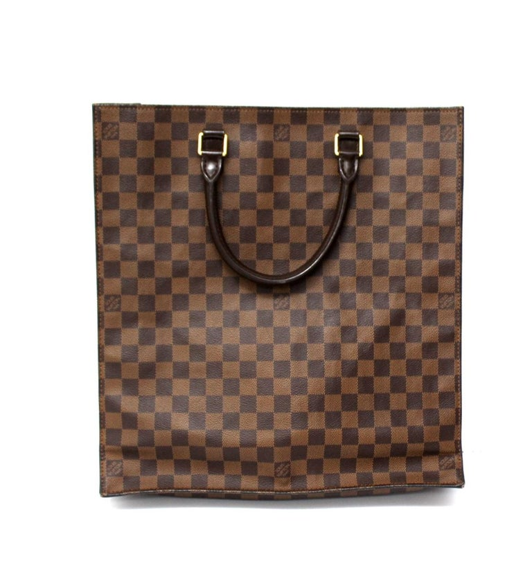 Louis Vuitton Damier Ebene Leather Sac Plat Bag In Excellent Condition For Sale In Torre Del Greco, IT