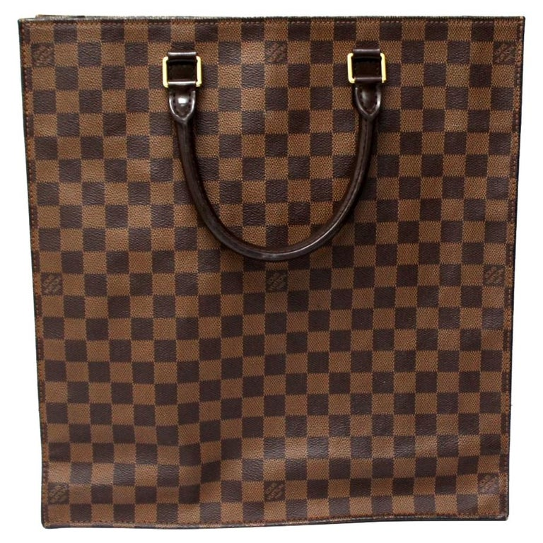 Louis Vuitton Damier Ebene Leather Sac Plat Bag For Sale